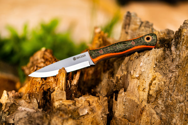 Brüder Alger Bushcraft Knife - Orange/ Green