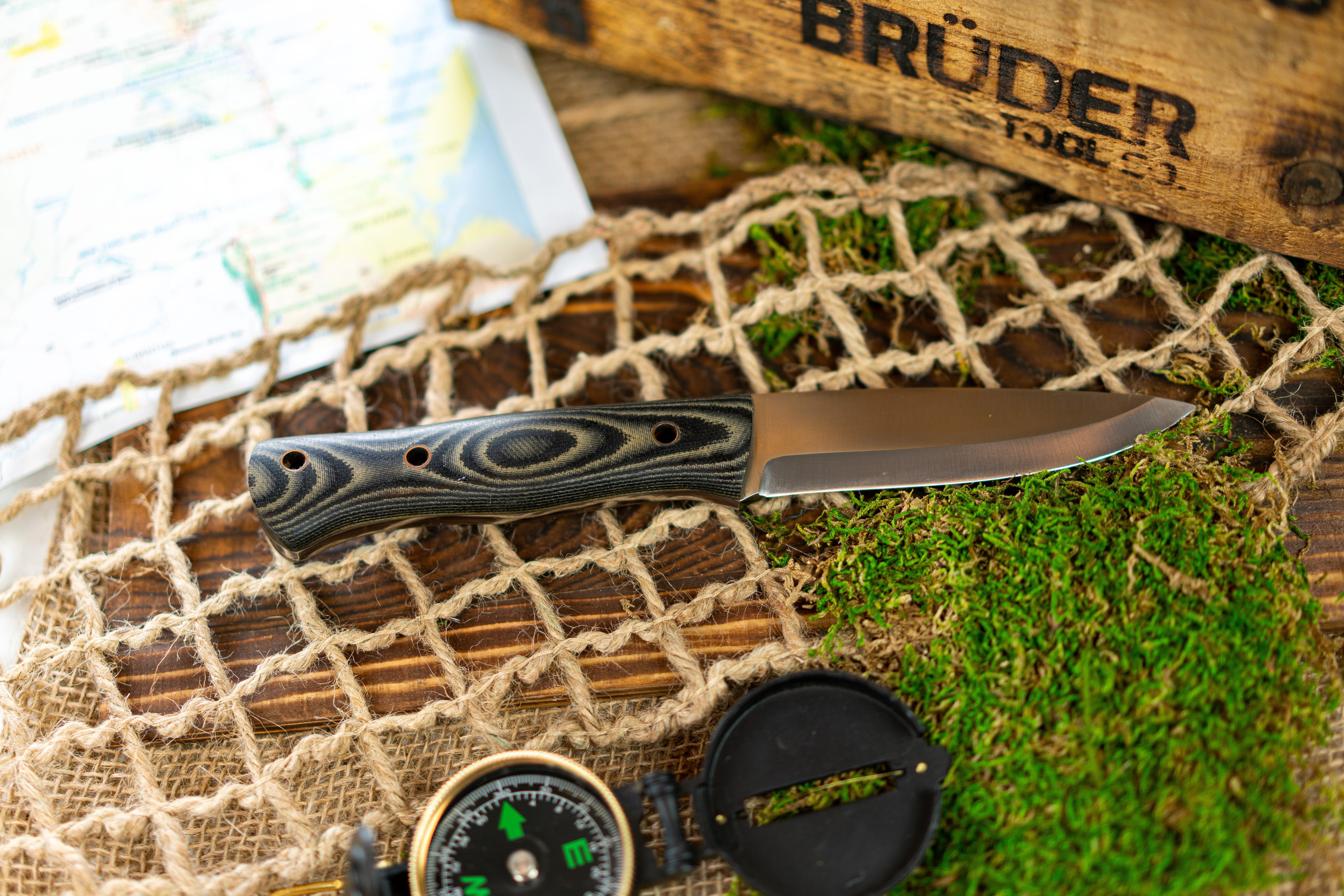 Brüder Alger Bushcraft Knife - Black / Charcoal Grey