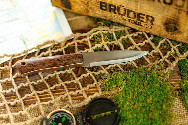 Brüder Alger Bushcraft Knife - Red Palm - Scandi Grind