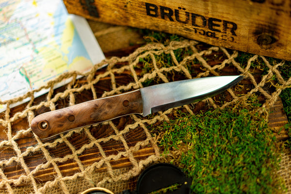Brüder Alger Bushcraft Knife - Natural Burl - Scandi Grind