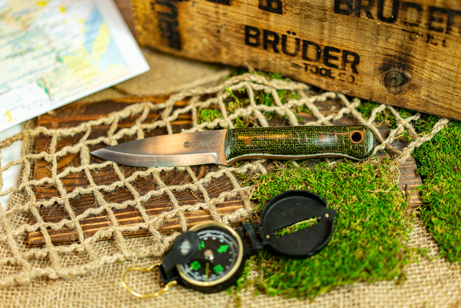 Brüder Alger Bushcraft Knife - Brown/Green Burlatex