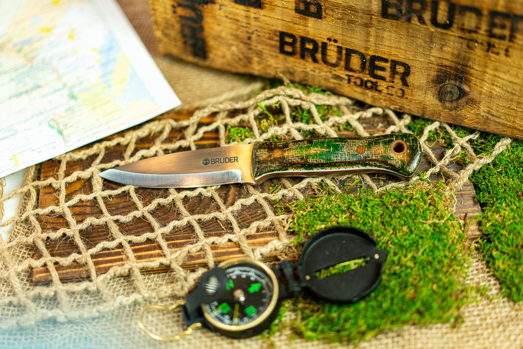 Brüder Alger Bushcraft Knife - Jungle/Camo Burlatex