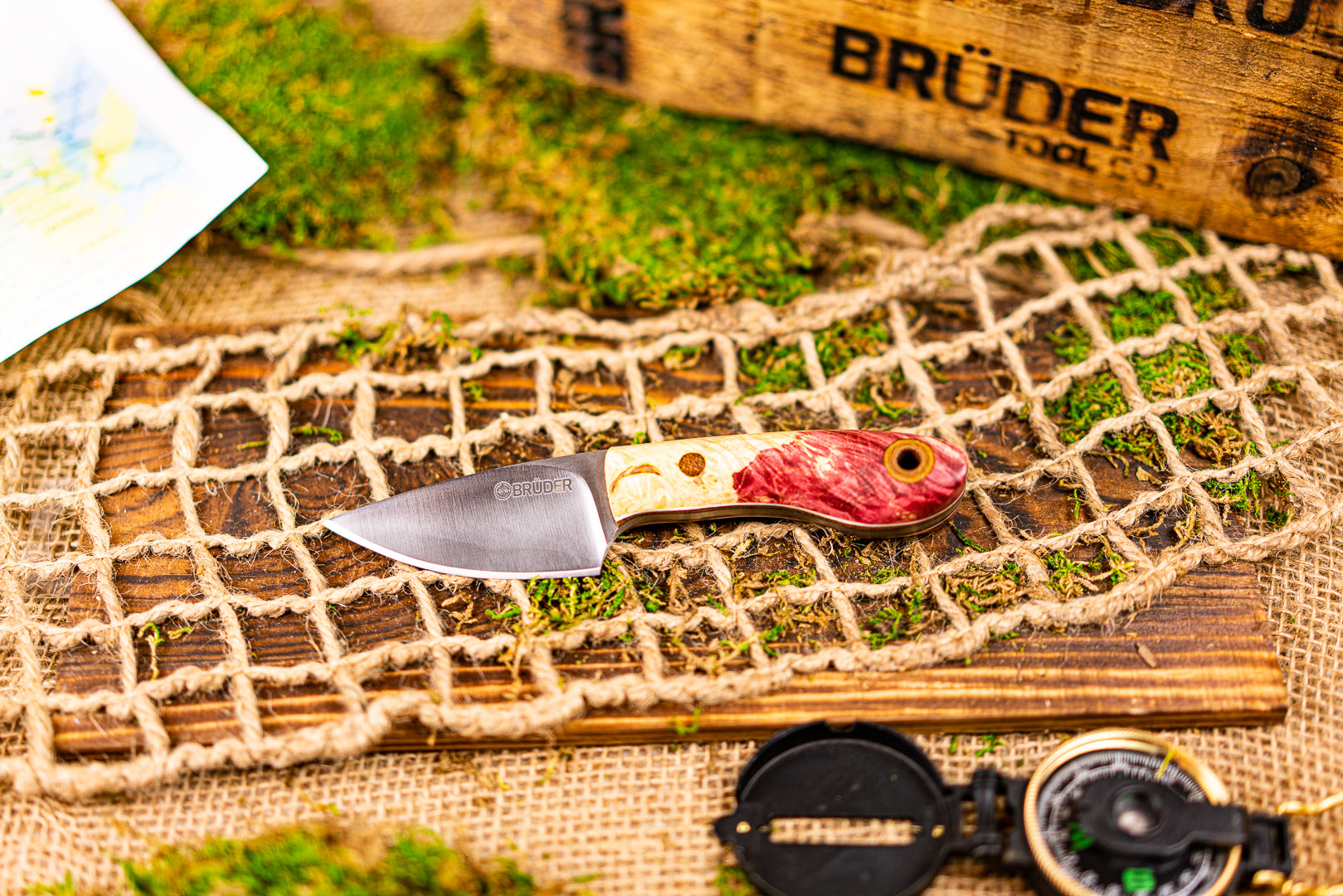 Brüder Skinner/EDC knife - Strawberry/Cream Dyed Burl