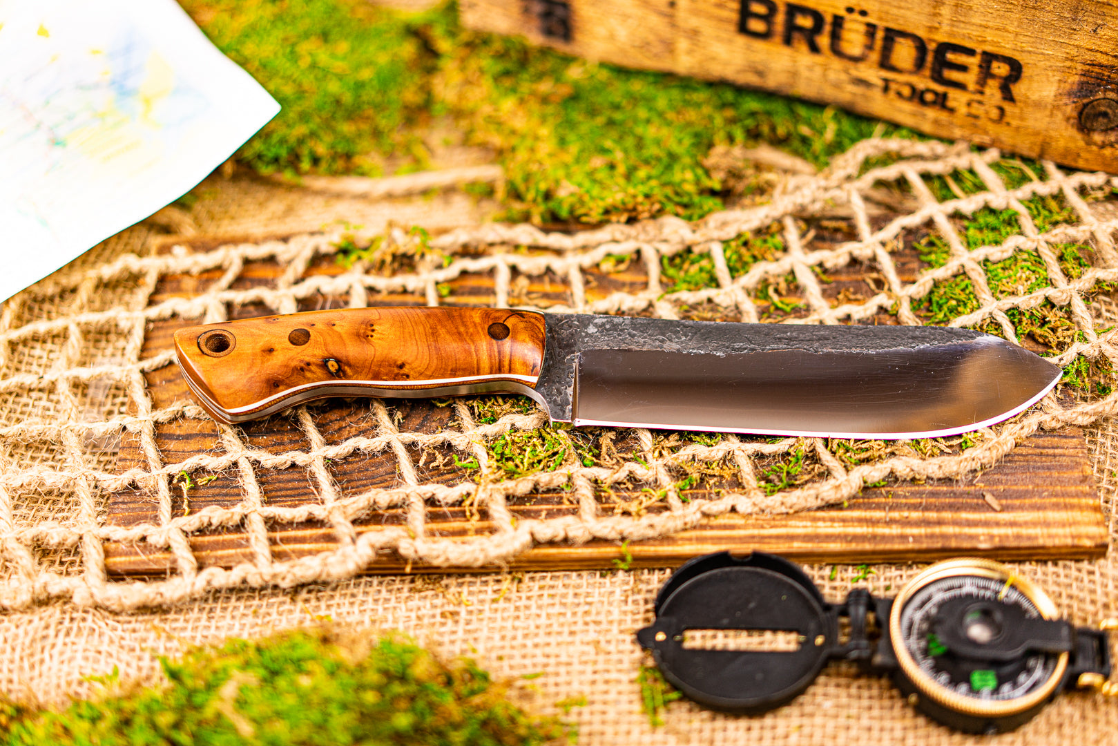 Brüder Brute Camp Knife- Maple Wood - 80crv2 Steel