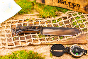 Brüder Brute Camp Knife- Black Burlatex - 80crv2 Steel