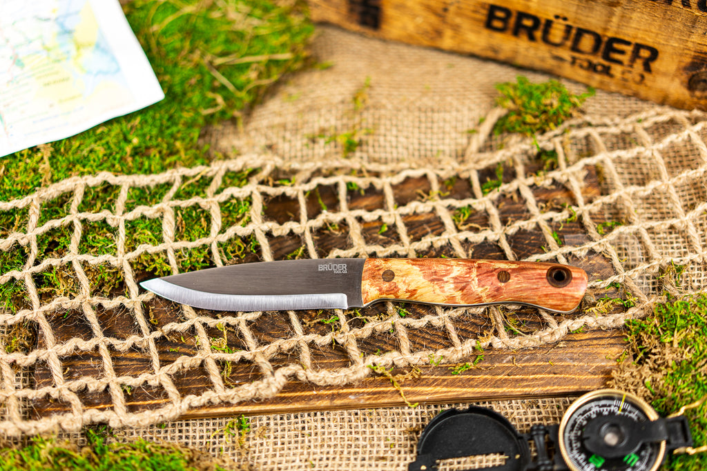 Brüder Alger Bushcraft Knife - Antique Cherry/Tan Custom Burl