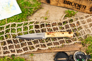 Brüder Alger Bushcraft Knife - Tan/ Cranberry Vein Custom Burl