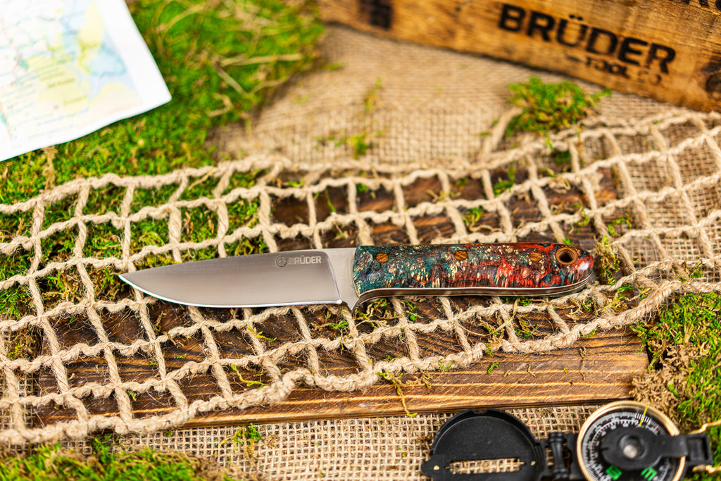 Brüder Alger Bushcraft Knife - Teal/Cherry Custom Burl