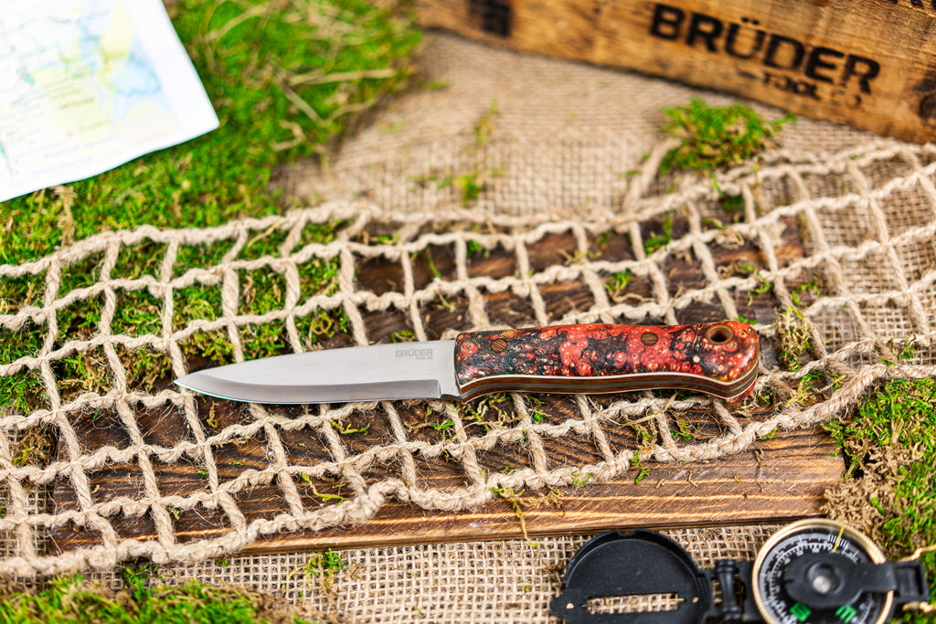 Brüder Alger Bushcraft Knife - Sunburst Custom Burl