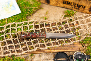 Brüder Alger Bushcraft Knife - Teal/ Cherry Custom Burl