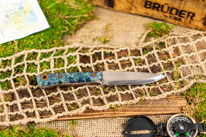 Brüder Alger Bushcraft Knife - Blue/Teal Custom Burl