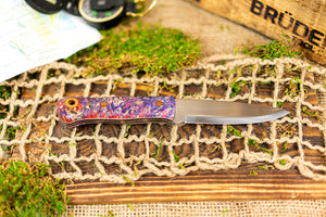 Brüder Alger Bushcraft Knife - Purple/Pink Triple Dyed Burl