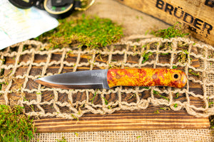 Brüder Alger Bushcraft Knife - Orange/Yellow Triple Dyed Burl