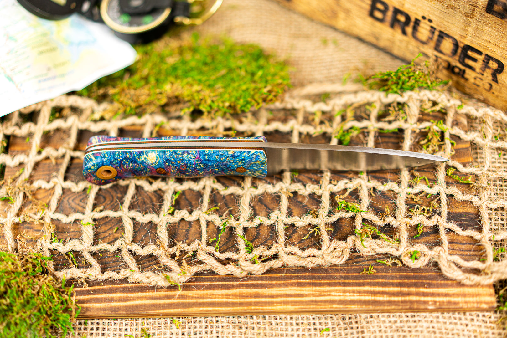Brüder Alger Bushcraft Knife - Blue/Purple Triple Dyed Burl