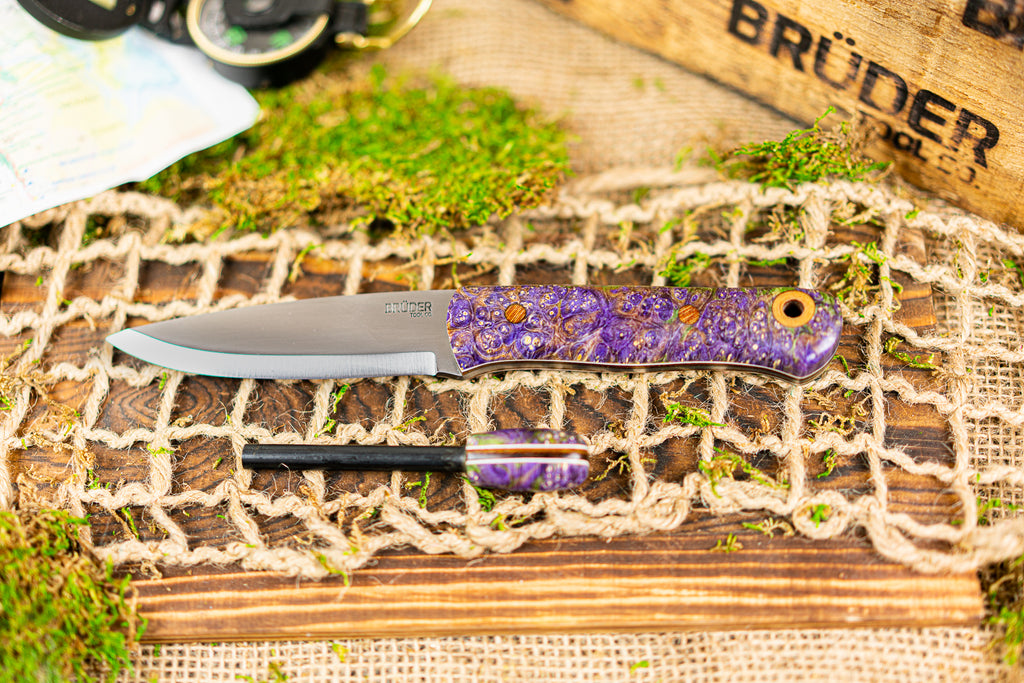 Brüder Alger Bushcraft Knife - Purple/Green Triple Dyed Burl