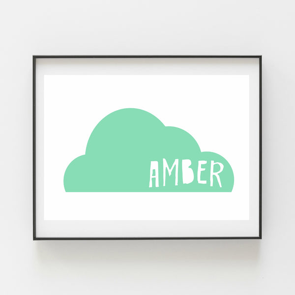 Mint Cloud Personalised Print - Kirsty Mason Designs