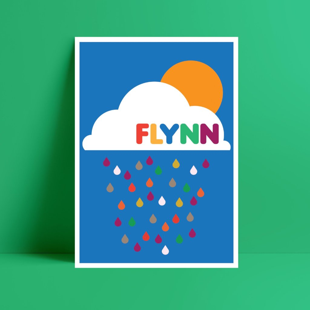 Personalised Bright rain cloud Print