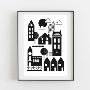 Monochrome In the Town - Kirsty Mason Designs