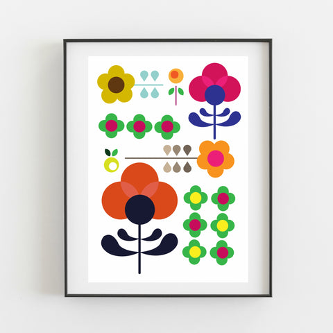 Colourful Retro Floral Print - Kirsty Mason Designs