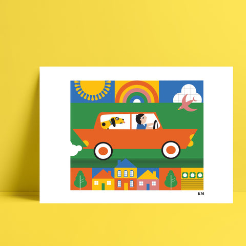 Car Ride Print - Kirsty Mason Designs