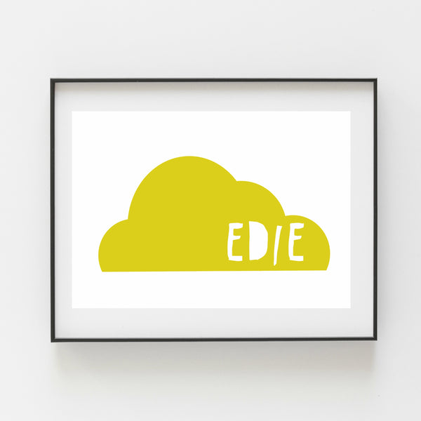 Yellow Cloud Personalised Print - Kirsty Mason Designs
