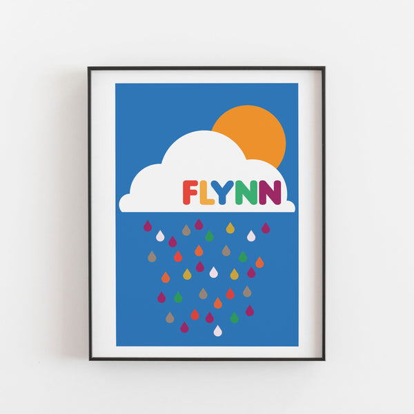 Personalised Bright rain cloud Print - Kirsty Mason Designs