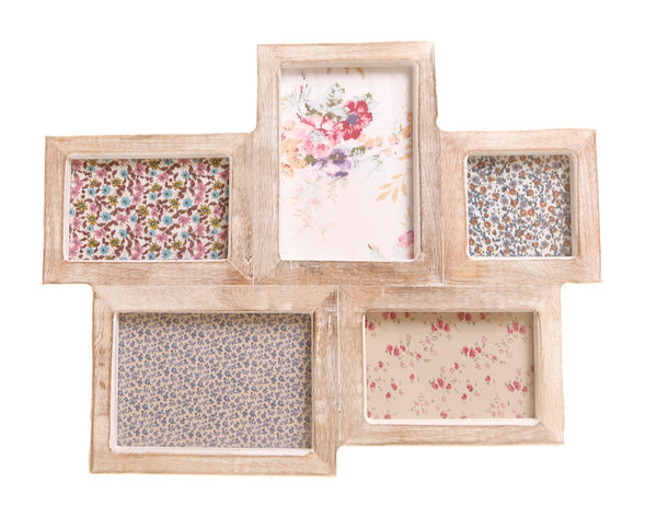 Rustic Wooden Collage Photo Frame in White Wash Effect