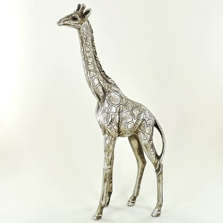 Antique Silver Standing Giraffe Figurine Medium