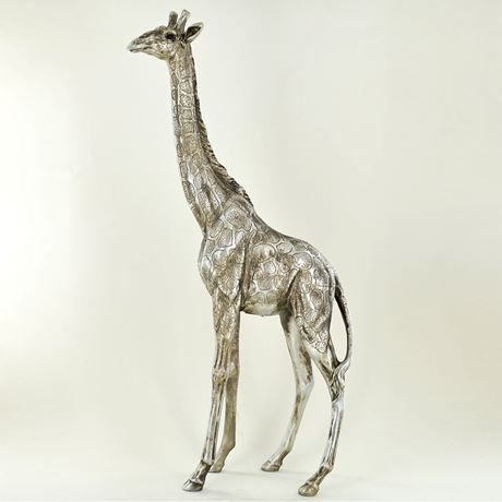 Antique Silver Standing Giraffe Figurine Large