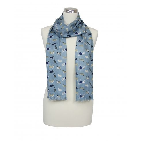 Blue/Beige Dog Print Scarf