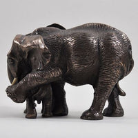 Mother & Baby Elephant Cold Cast Bronze Sculpture by Beauchamp Bronze