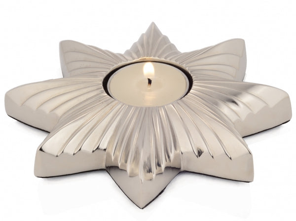 Silver Star Tea Light Holder - Nickle
