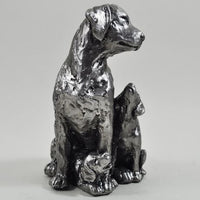 Antique Silver Dog With Puppies Figurine