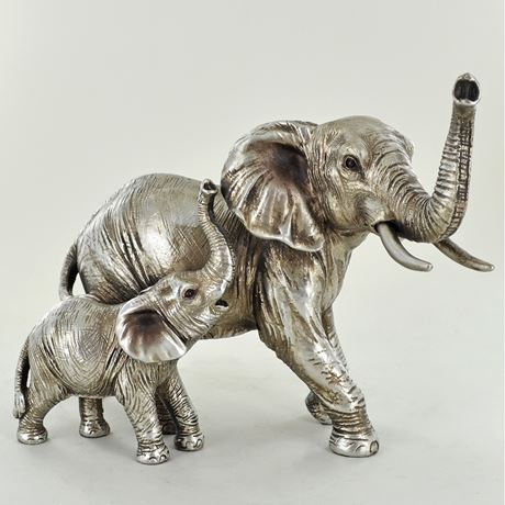 Antique Silver Mother & Baby Elephant