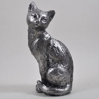 Antique Silver Sitting Cat Figure