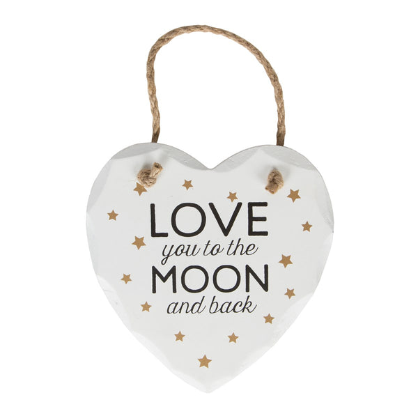 Love You To The Moon Golden Stars Heart Plaque