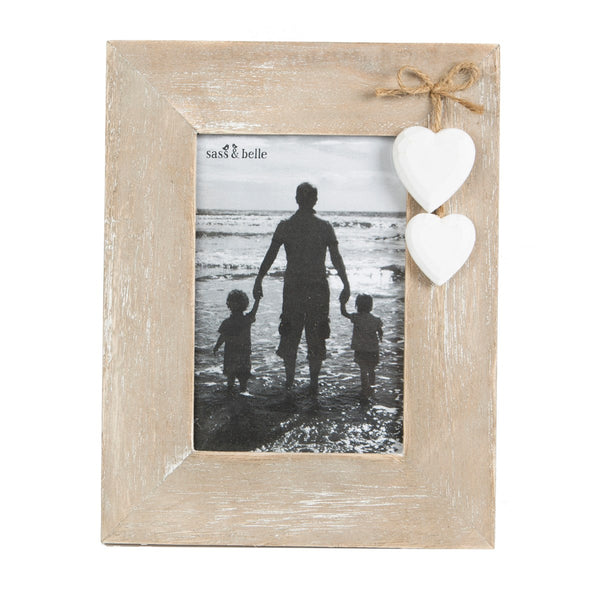 Rustic Photo Frame with Hanging Hearts