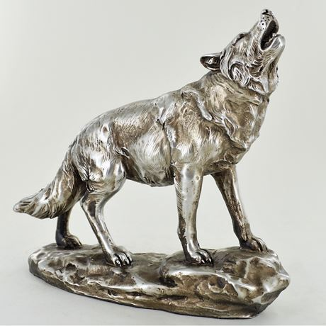 Antique Silver Howling Wolf Figurine