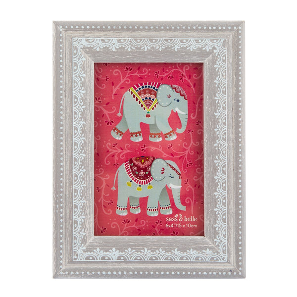 Grey Mandala Elephant Photo Frame