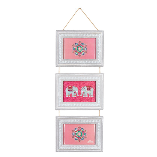Grey Mandala Elephant Triple Hanging Photo Frame