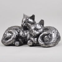 Antique Silver Cuddling Cats Ornament