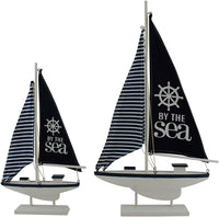 Wooden Yacht with Navy Blue & White Sail