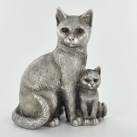 Antique Silver Cat & Kitten Standing