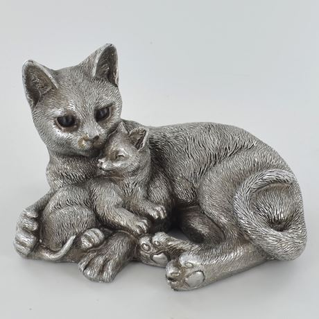 Antique Silver Cat & Kitten Entwined