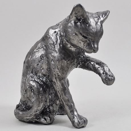 Antique Silver Cat Licking Paw Ornament
