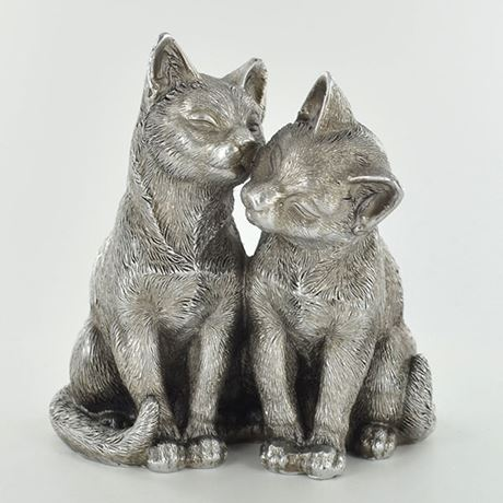 Antique Silver Pair of Cats