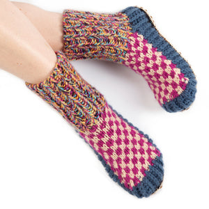 Berkley Knit Slipper sock Blue - Ariana Bohling