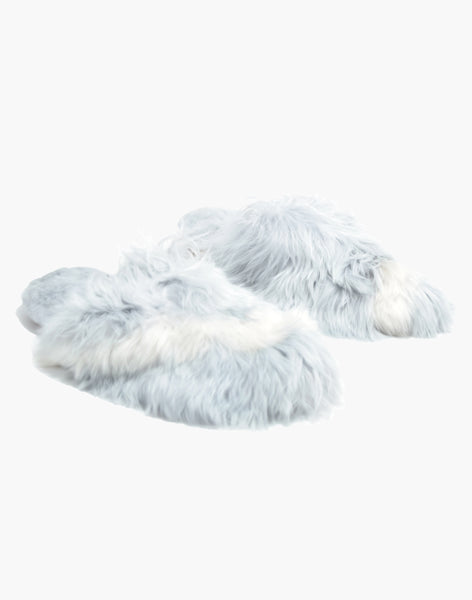 Bowie Alpaca Slipper Grey/White
