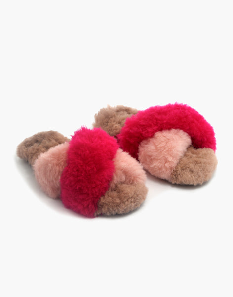Criss Cross Alpaca Slipper Fuchsia/Pink/Blush