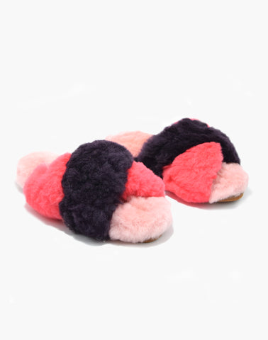 Criss Cross Alpaca Slipper Plum/Fuchsia/Pink